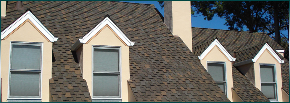 GAF shingles on a steep to moderate roof slope